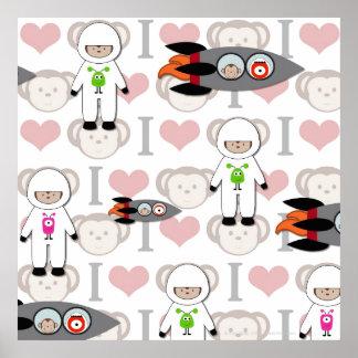 I Love Monkeys in Space Poster
