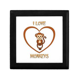 I Love Monkeys Keepsake Boxes