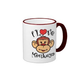 I Love Monkeys Coffee Mugs