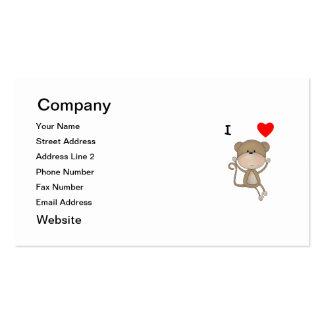 I Love Monkeys Pack Of Standard Business Cards
