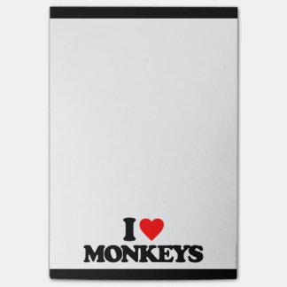 I LOVE MONKEYS STICKY NOTES