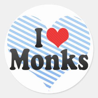 I Love Monks Round Sticker
