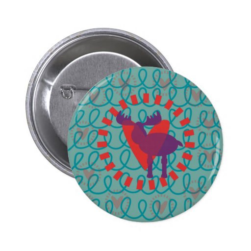 I love Moose Heart Doodle Nature Lover Design Pins