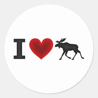 I Love Moose Round Sticker