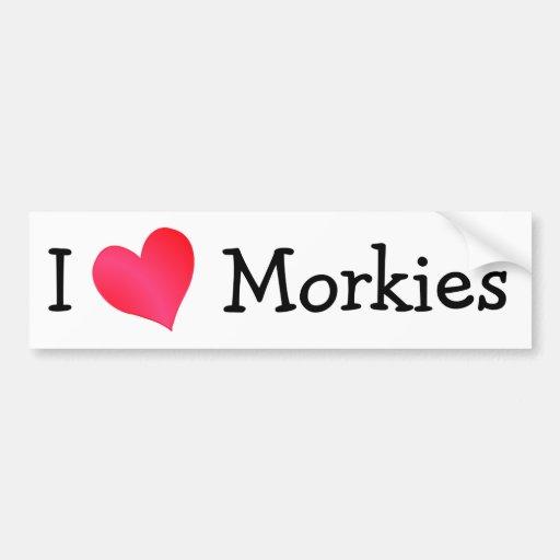 I Love Morkies Bumper Sticker