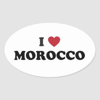I Love Morocco Oval Sticker