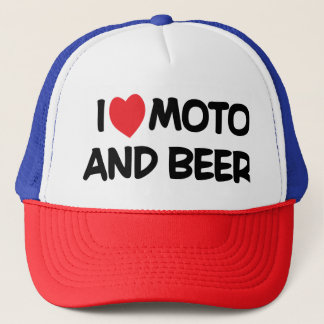 i LOVE MOTO AND BEER Trucker Hat