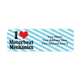 I Love Motorboat Mechanics Custom Return Address Labels