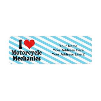 I Love Motorcycle Mechanics Custom Return Address Labels