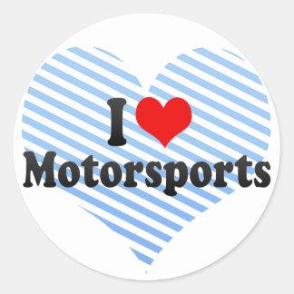 I Love Motorsports Classic Round Sticker