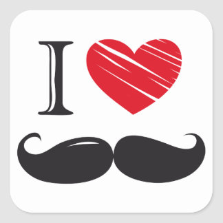 I Love MOUSTACHE Nr 1 Square Sticker
