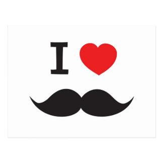 I Love Moustache Postcard