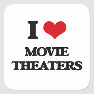 I Love Movie Theaters Square Sticker
