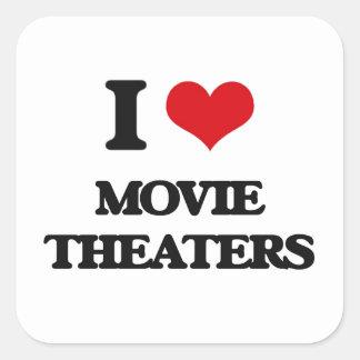 I Love Movie Theaters Square Sticker