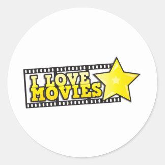 I love movies classic round sticker