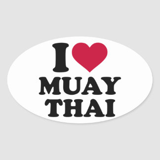 I love Muay Thai Oval Sticker