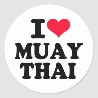 I love Muay Thai Round Sticker