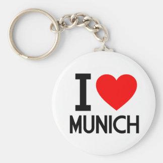 I Love Munich Basic Round Button Keychain