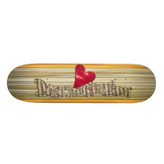 I Love Munich skateboard deck with wood sample