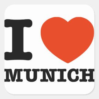 I Love Munich Square Sticker
