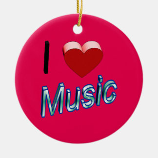 I Love Music 2 Ceramic Ornament
