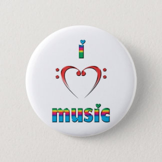 I Love Music 2 Inch Round Button