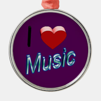 I Love Music 2 Metal Ornament
