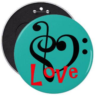 I Love Music 6 Inch Round Button