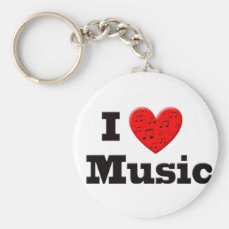 I Love Music and Heart Keychain
