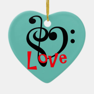 I Love Music Ceramic Ornament