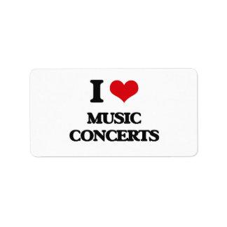 I Love Music Concerts Custom Address Labels