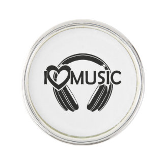 I love music headphones lapel pin