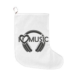 I love music headphones large christmas stocking