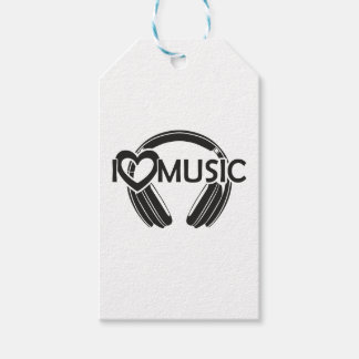 I love music headphones pack of gift tags
