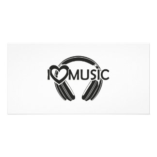 I love music headphones personalized photo card