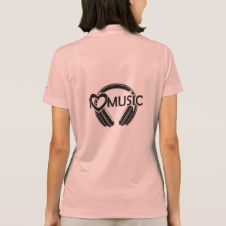 I love music headphones polo shirt