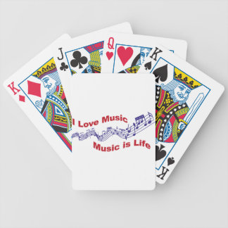 I love music Music is life Bicycle Playing Cards