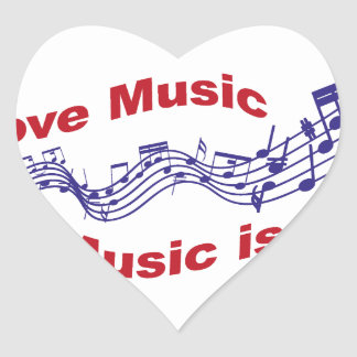 I love music Music is life Heart Sticker