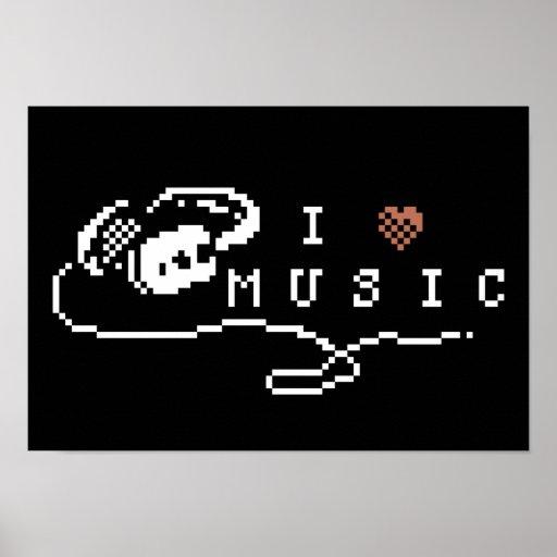 I Love Music Pixel Art Poster