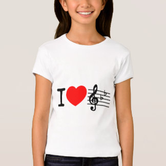 I love music. Red heart design T-shirts