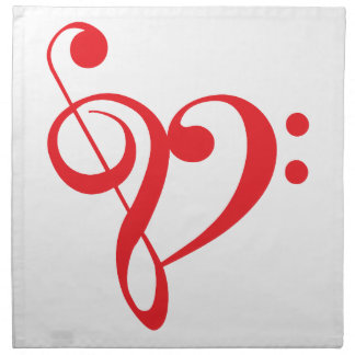 I love music, red heart with music notes napkin