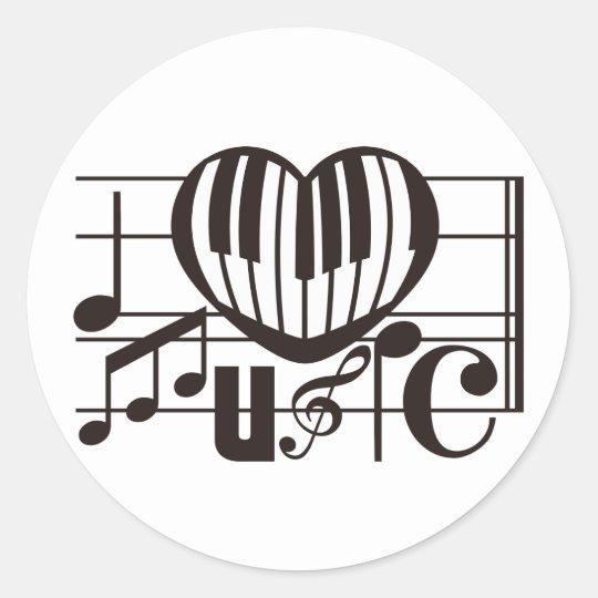 I LOVE MUSIC ROUND STICKER