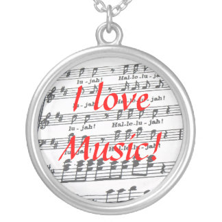 I love Music! Silver Plated Necklace