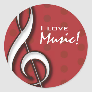 I Love Music Sticker with customizable text