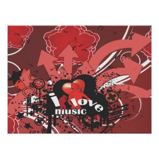 i love music urban vector art poster