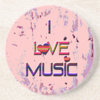 I Love Music with Hearts Coaster