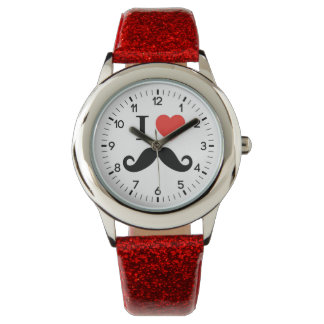 i love mustache wrist watches