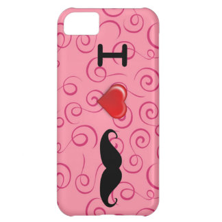 I Love Mustaches Pink Swirl Iphone Case iPhone 5C Cases