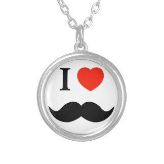 I love mustaches silver plated necklace