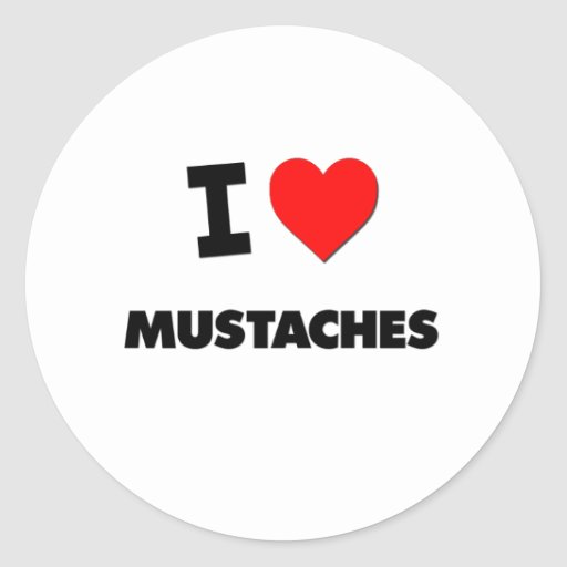 I Love Mustaches Stickers
